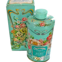 70s Avon Roses Roses Talcum Powder Full, 91st Anniversary Collectors Tin & Box Vintage Collectible, Perfume Fragrance Talc Turquoise Decor