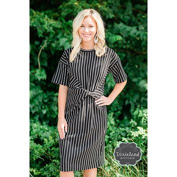 Black & White Striped Twist Front Dress