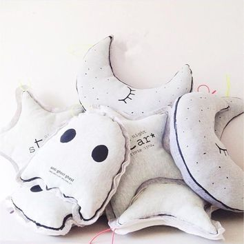 INS Cartoon Pillow Glow In The Dark Luminous Moon Star Owl Lamp Placate Stuffed Toys For Baby Children Room Decorative Pillows