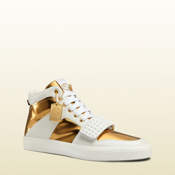 limited edition leather high-top sneaker 376195AYOY09077
