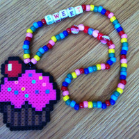 Cute Rainbow Sweet Cupcake Kandi Necklace