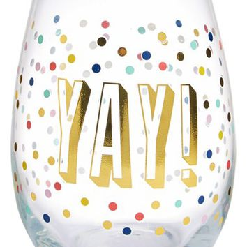 Slant Collections 'Yay!' Stemless Wine Glass | Nordstrom