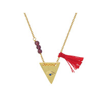 Illuminati Eye Pyramid Red Tassel & Garnet Stone Sterling Silver Necklace by Fronay