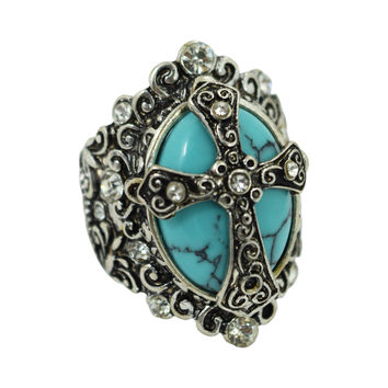 Gothic Vintage Victorian Chunky Turquoise Cross Alchemy Mystic Ring