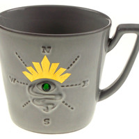 Starbucks Coffee Mug Sirens Eye Compass Collection 2014 Gray Green Gem Crown