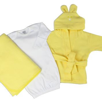 Bambini Neutral Newborn Baby 3 Pc Layette Set (Gown, Robe, Fleece Blanket)  - Made in USA
