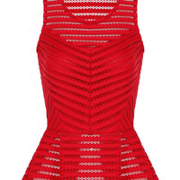 Red Perspective Top In Mesh Fabric