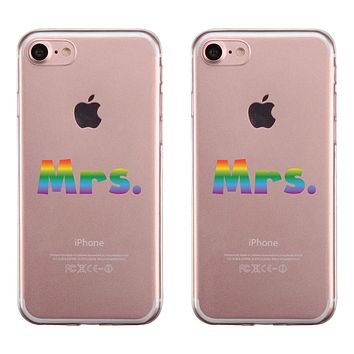 LGBT Mrs. Mrs. Rainbow Clear Matching Phone Cases
