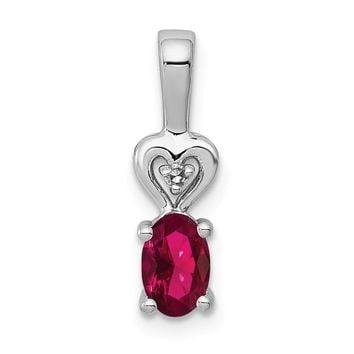 Sterling Silver Simulated Ruby & Diamond Pendant