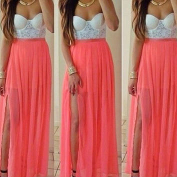 Stitching Lace Chiffon Wrap Chest Strapless Maxi Dress