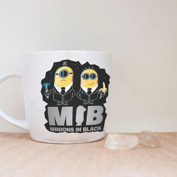 mib minions in black mug coffee, mug tea, size 8,2 x 9,5 cm