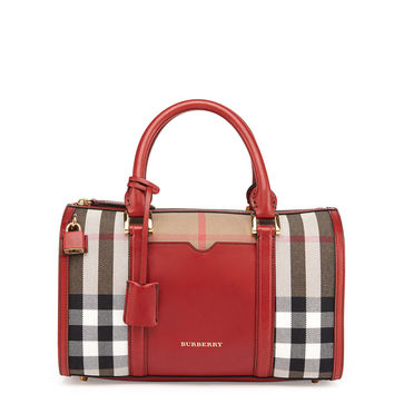 Check & Leather Medium Satchel Bag, Military Red - Burberry