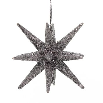 Holiday Ornaments STARBURST Plastic Christmas Glittered T2445 Silver