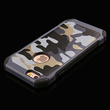 Blue Camo Army 2 Piece Protection Phone Case For iPhone 6 6s Plus 5 5s SE