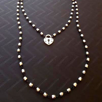 Silver Padlock Heart Black Silver Beaded Necklace, Double Strand Wrap Around Necklace