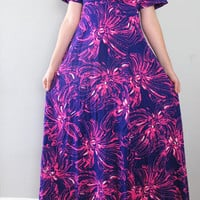 purple hawaiian dress - 70s vintage Harriet's bright psychedelic floral print pink long full skirt tiki boho hippie loose slouchy muumuu