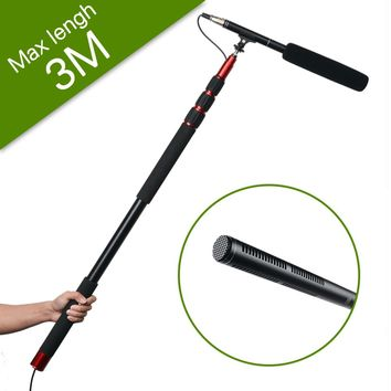 JY Extension Telescopic Rod Stand Pole+DSLR Camera Camcorder UniDirectional System Shotgun Video Microphone Stereo Condenser Mic