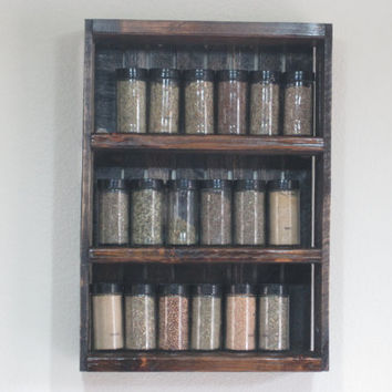 Wooden Crate Style Spice Rack or Knick Knack Display Wall Hanging