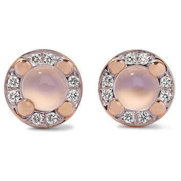 Pomellato - M'ama non M'ama 18-karat rose gold, moonstone and diamond earrings