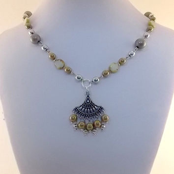 Mustard Yellow, Antique Silver Dangle Necklace