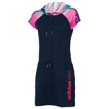 DCCKSP2 Trend 'Adidas' Movement Leisure Jogging Hooded In The long Section Short Sleeve Dress