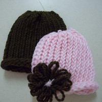 Baby Hat Set Pink and Brown Flower by PreciousBowtique on Etsy