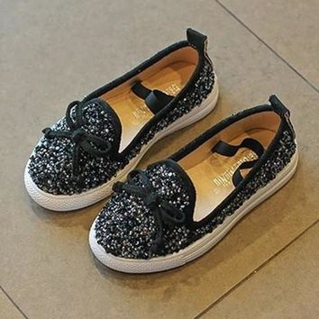 BLACK MERMAID GLITTER JEWELED SUEDE SLIP-ON FLAT BOW TIE BLING TENNIS SHOES