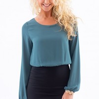 EVERLY:Sit Tight Dress-Teal