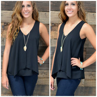 City Luxe Black Double Layered Sleeveless Top