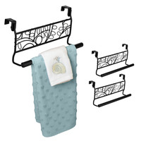 """Evelots Over The Cabinet Kitchen Dish Towel Bar Holders 9"""" Black Steel, 2 Pack"""