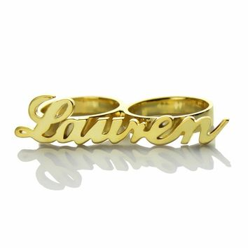 Freeshipping -Personalized Carrie Style 2 Finger Gold Color Name Rings Couples Name Ring Custom Name Jewelry