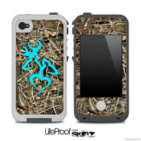 Real Camouflage V3 with Turquoise Heart Deer Logo Skin for the iPhone 4/4s or 5 LifeProof Case