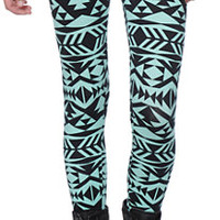 Empyre Tribal Print Mint & Black Leggings