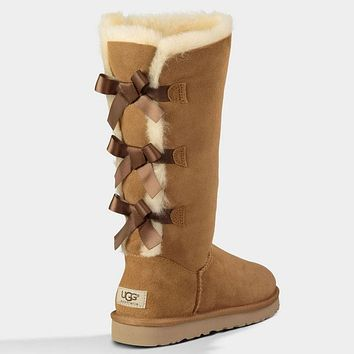 UGG Women Fashion Bow Wool Snow Boots Half Boots Shoes