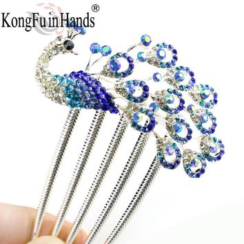 Hot Sale Fashion Women Girls Peacock Colorful Rhinestones Hairwear Jewellery Vintage Hairpin Hair Clip pin 2017 Christmas gift
