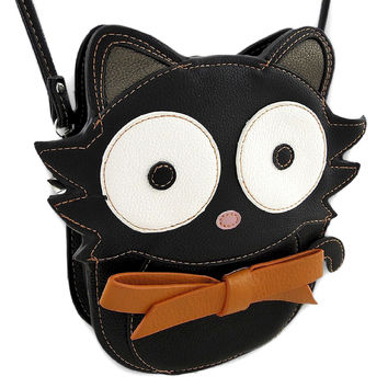 Cute Little Kawaii Black Kitty Cat Crossbody Bag Purse With Bowtie
