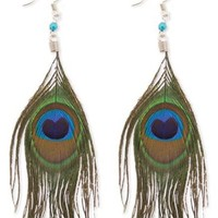 ZAD Long and Elegant Peacock Feather Hook Earrings on Silver Fish Hooks and Blue Beaded Accent
