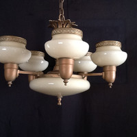 Antique 6 Light Chandelier Art Deco Custard Slip Shades