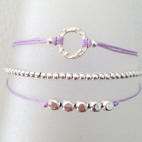 Triple Silver Friendship Bracelet with Adjustable Cord in Lavender