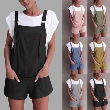Women Elastic Waist Dungarees Linen Cotton Pockets Rompers Playsuit Shorts Pants jumpsuits for women 2018 women rompers catsuit