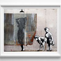 Banksy Print, Boys Peeking, Street Graffiti Art, Urban Artist, Home Decor, Stencil Art, Street Art, Home Decor, Fathers Day Gift