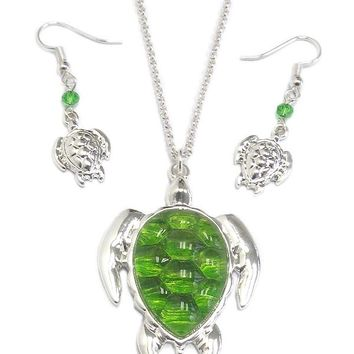 Turtle Pendant Necklace and Earring Set
