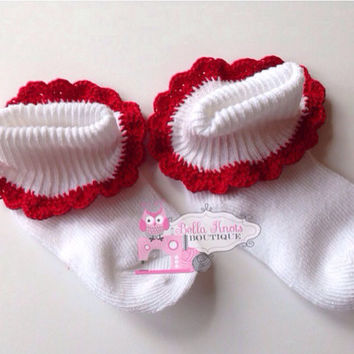 Red Crochet lace baby socks size 6-12 months