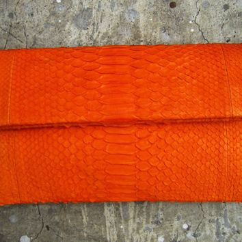 Orange Fold Over Python Snakeskin Leather Clutch by linmade