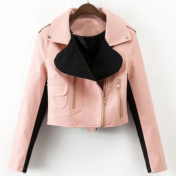 2017 Automotive Women Leather Jackets High Quality Female Autos Leather Jacket and Coats European Appear Bomber Femme Coats C671