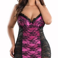 Plus Size Lace Cup Babydoll
