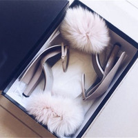 New Spring Mirrored Leather Fuex Fur Sandals Buckled Strap Furry Chunky High Heel