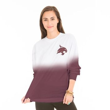 Venley Women's Texas State University Ombré Game Day Long Sleeve T-shirt