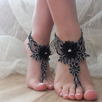 FREE SHIP Gothic  black silver frame  Beach wedding barefoot sandals, bangle, wedding anklet, , anklet, bridal, wedding