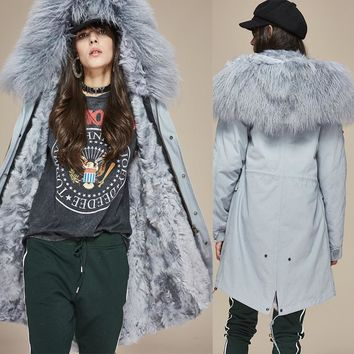 Real Lamb Fur lined Parka Midi Mongolian Sheep Fur Hooded Warm Outwear Winter Christmas Jacket